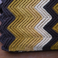 "Crocheted Afghan Brown and Gold 48"" x 48"" // Lap Throw Blanket Handmade Harvest"