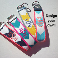 Key FOB / KeyChain / Wristlet  - 3 initial monogram on your choice of chevron preppy -  custom design your own personalize
