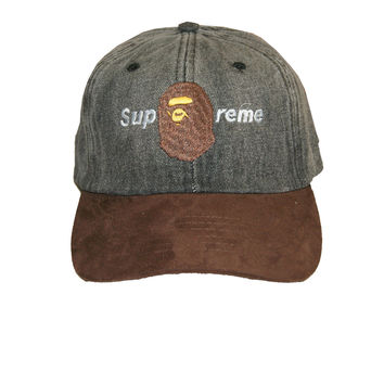 Talento Bape Supreme Dad Hat In Denim Suede