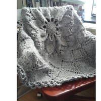 "SALE Throw Lap Blanket Grey Round Doily Thick Wool Hand Knit 45"" READY to SHIP"