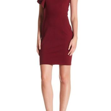 Love...Ady | Mock Neck Ruffle Bodycon Dress