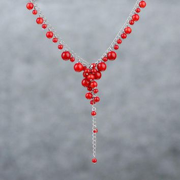 Red coral lariat necklace Bridesmaids gifts Free US Shipping handmade Anni Designs