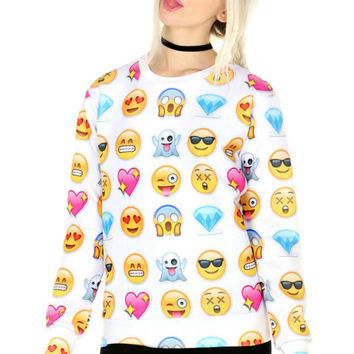 emoji Love and Diamonds all over print shirt black & white