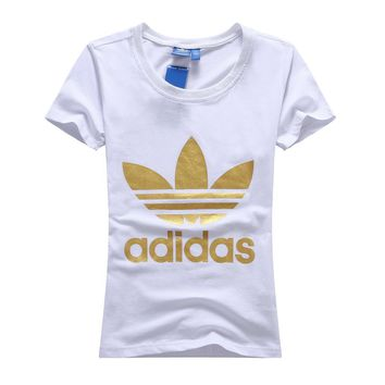 Adidas Women Simple Casual Gold Clover Letter Print Round Neck Short Sleeve Cotton T