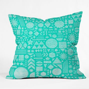 Nick Nelson Modern Elements In Turquoise Throw Pillow