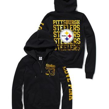 Pittsburgh Steelers Bling Zip Hoodie - Victoria's Secret Pink?- - Victoria's Secret