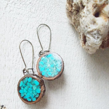Inlaid preserved acorn cap earrings, genuine grinded turquoise chips, aged brass sealed kidney wires, artisan nature jewelry,