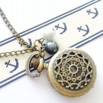 Victorian Pocket Watch necklace - black and white pearls - bridesmaid gift