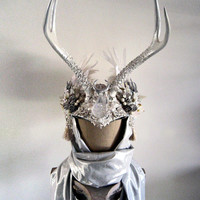 Winter White Antler Headdress Ritual Crown Snow Queen Costume Offbeat Wedding Pagan Handfasting Bridal Deer ICE MAIDEN by Spinning Castle