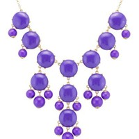 Color Bubble BIB Statement Fashion Necklace - Purple