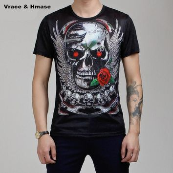 Skull head rose pattern short sleeve silk soft comfortable t shirt