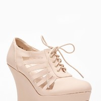 Bamboo Round Toe Cut Out Lace Up Nude Wedge @ Cicihot Wedges Shoes Store:Wedge Shoes,Wedge Boots,Wedge Heels,Wedge Sandals,Dress Shoes,Summer Shoes,Spring Shoes,Prom Shoes,Women's Wedge Shoes,Wedge Platforms Shoes,floral wedges