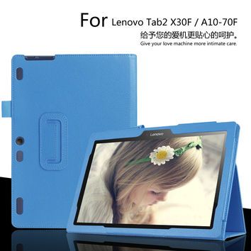 For lenovo Tab2 10.1inch X30F/A10-30 Tablet Case Litchi PU Leather Cover For Tab2 A10-70F/L Slim Protective shell + Film + Pen