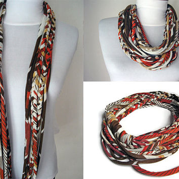 T shirt Scarf, African clothing, Jersey scarf, Big Infinity Scarf, Gift for friend,Loop Scarf, Bohemian Scarf, Long Scarf, African wax print