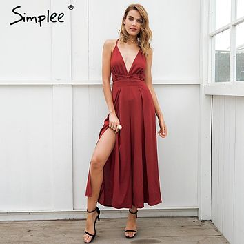 Simplee v neck backless print jumpsuit romper women Lace up halter high waist short overalls Split wide leg summer jumpsuit