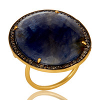 Pave Diamond And Blue Sapphire Cocktail Ring In 18K Yellow Gold Sterling Silver