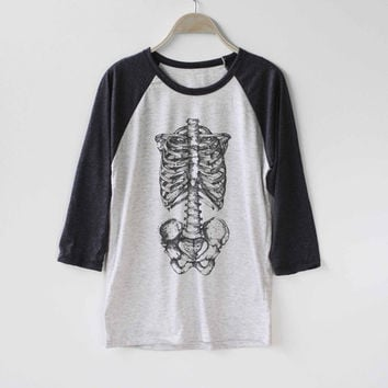 Skeleton Shirt Baseball Raglan Shirt Tee TShirt