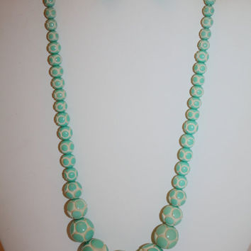 Art Deco Necklace Celluloid Green Carved Bead 1920s Jewelry