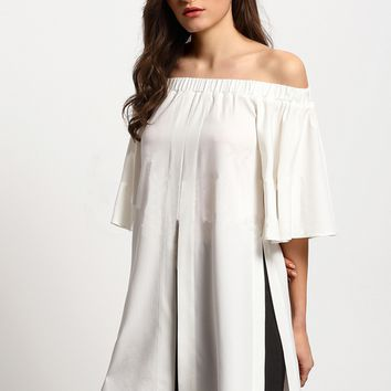 White Off Shoulder Chiffon Top