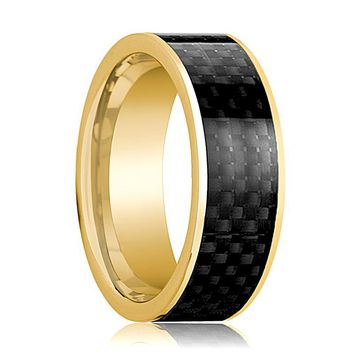 Mens Wedding Band 14K Yellow Gold with Black Carbon Fiber Inlay Flat Polished Design