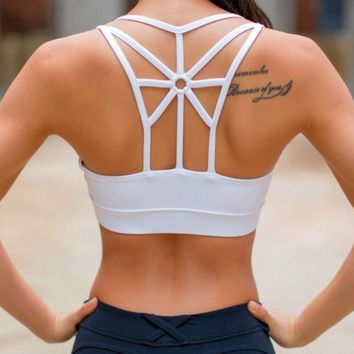 New Sports bra underwear back cross yoga running fitness underwear bra Sports bra White