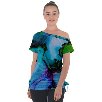 Blue Green Ink Off Shoulder Tie Up Tee Off Shoulder Tie-Up Tee