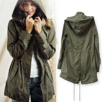 Women Drawstring Waist Parka Hoodie Army Green Wind Coat Utility Anorak Jacket