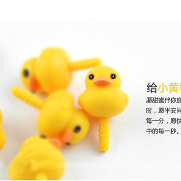 5pcs/lot lovely Cute Cartoon Yellow Duck Ear Cap Dust Plug For Iphone Samsung lg htc and all cell phone 3.5mm earphone jack plug