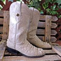 Leather stamped Alligator boots / Mens 9.5 / Crazy Bull handcrafted Mexico / cowboy boots / vintage western boots / Ivory