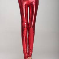 Red Faux Leather Leggings
