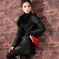 Autumn Winter 2014 Europe leather clothing female long section design Thick cotton outerwear jacket good leather jacket women