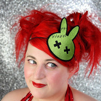 Zombie Bunny Headband, Green and Black