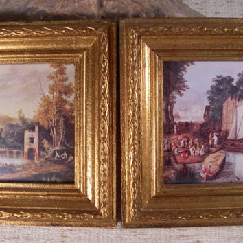 Vintage Home Decor Made in Italy Gold Gilt Wood Framed Scenic Pictures Wall Hangings