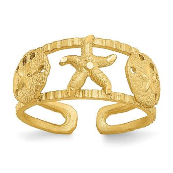 14k Yellow Gold Starfish Toe Ring
