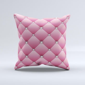 Pink & Diamond Pinned Cushion Ink-Fuzed Decorative Throw Pillow