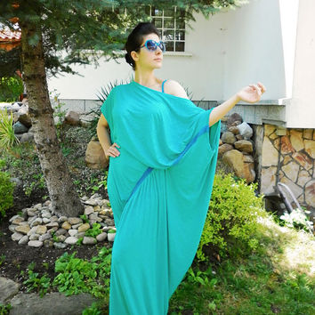 Mint Long Elastic Cotton Asymmetric Dress / Oversized Green Dress / Evening Summer Dress / Plus size Dress / Loose Dress by moShic D008