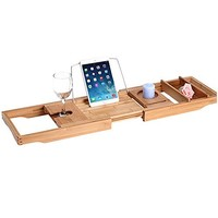 Royal Craft Wood Luxury Bathtub Caddy, Natural Bamboo Bath Tub Tray with 1 Free Soap Holder