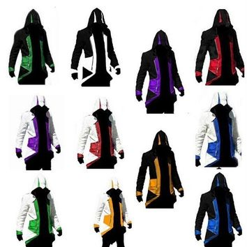 Hot Sale Assassins Creed 3 III Conner Kenway Hoodie Coat Jacket Anime Cosplay Assassin's Costume