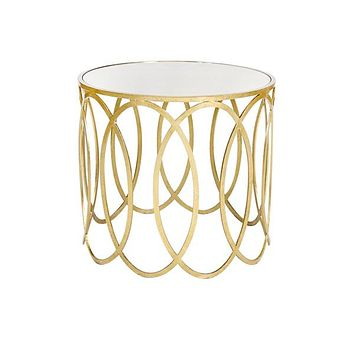 Worlds Away Olivia Oval Side Table with Mirrored Top