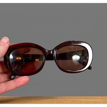 1970s Sunglasses, 70s Eyeglass Frames, Vintage Retro Calvin Klein Oversize Butterfly Eyeglasses, Translucent Dark Red Cats Eye Glasses