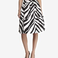 HIGH WAIST ZEBRA PRINT FULL MIDI SKIRT