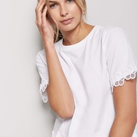 Floral Embroidered-Trim Knit Tee