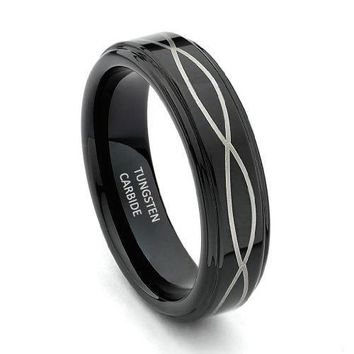6mm Laser Strip Black Men's Tungsten Wedding Band