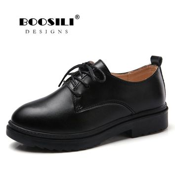 2018 Women  Leather Women Shoes British Spring Platform Flats Casual Lace-Up Ladies Brogue Oxfords Shoes Womens