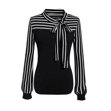 Women Tie-Bow Neck Striped Long Sleeve Splicing Blouse