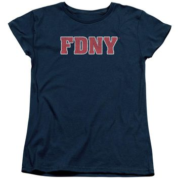 FDNY Womens T-Shirt New York Fire Dept Logo Navy Blue Tee
