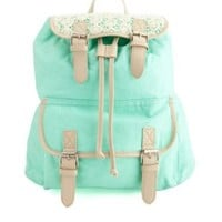 Crochet-Topped Belted Canvas Backpack by Charlotte Russe - Mint