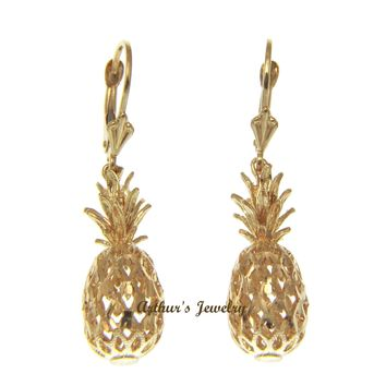 SOLID 14K YELLOW GOLD HAWAIIAN DIAMOND CUT 3D PINEAPPLE LEVERBACK EARRINGS 9.2MM