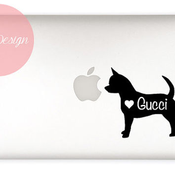 Chihuahua Decal - customizable pet name - macbook, laptop, iphone, ipad, car window - custom size and color - dog sticker - vinyl