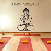 Buddha Wall Decal Quote Find Yourself Yoga Vinyl Stickers Namaste Home Bedroom Interior Design Living Room Decor Meditation Art Murals M704